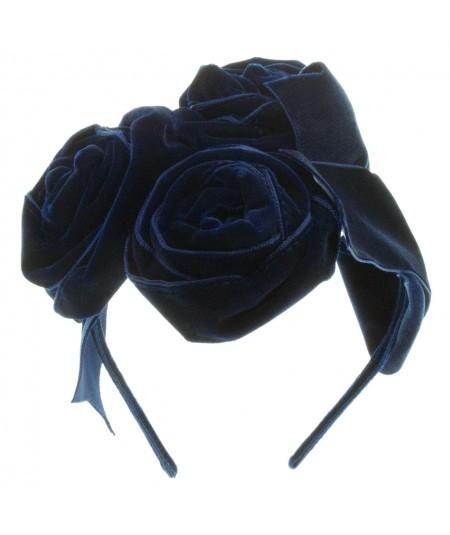 Black Velvet Ribbon Rose Trimmed Headband