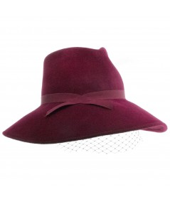 TINA Wide Brim Fedora With Face Veil