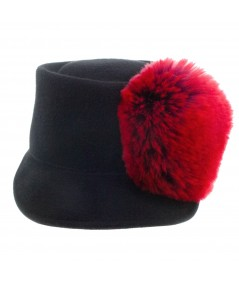 Felt Cap with Faux Fur Pom