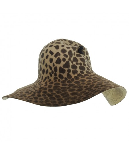 Leopard Print Felt Floppy Hat with Pinch