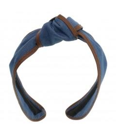 Medium Blue Denim with English Tan Leather Bind Turban