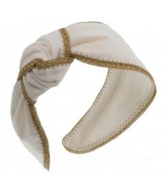Ivory Twill Side Turban with Wheat Toyo Trim