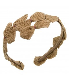 Camel Toyo Straw Headpiece with Multi Colored Thread