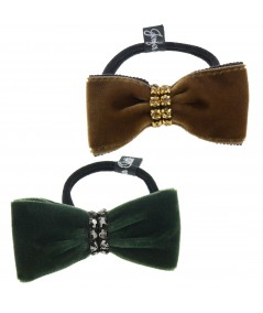 Velvet Small Bowtie with Rhinestone Trim Pony