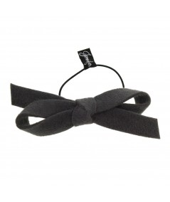 Charcoal Felt Bow Pony on Skinny Elastic