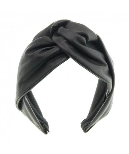 Black leather-center-twist-turban-headband