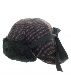 Women's Boucle Cap with Faux Fur Trim