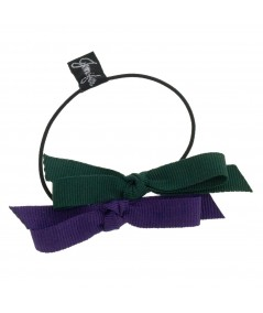 Two-Tone Grosgrain Double Bow Hair Pony Accessory