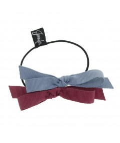 Country Blue & Wine Two-Tone Grosgrain Double Bow Pony
