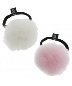 Faux Fur Pom Pom Hair Elastic - White & Pink