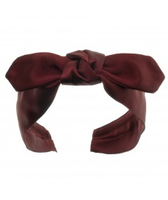 Burgundy Satin Riveter Bow Headband