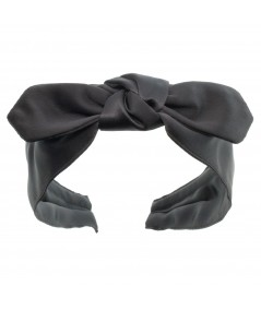 Gunmetal Satin Riveter Bow Headband