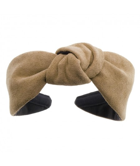 Taupe suede-center-turban-headband