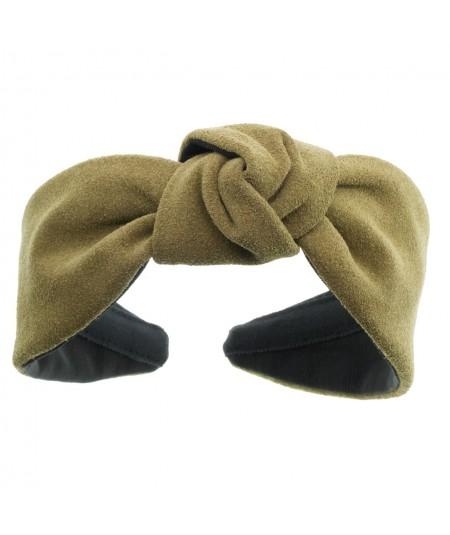 Olive suede-center-turban-headband