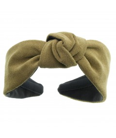 Olive suede-center-turban-headband
