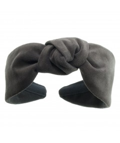 Charcoal suede-center-turban-headband