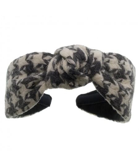 Grey Ivory Check Wool Center Turban Headband