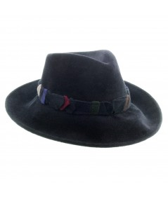 Men's Felt Wide Brim Fedora with Recycled Trim Band