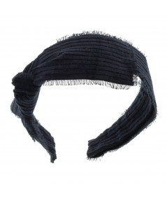 Navy Frayed Corduroy Side Knot Headband