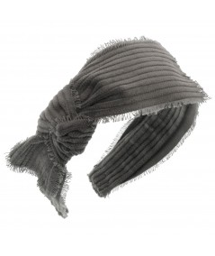 Grey Frayed Corduroy Side Knot Headband