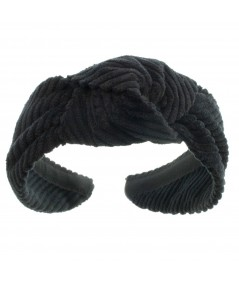 Black Corduroy Center Turban Headband