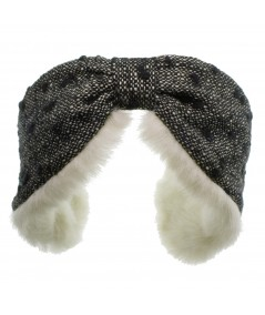 Boucle or Tweed Earmuffs with Faux Fur Lining