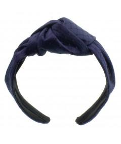 Navy Satin and Navy Veiling Turban Headband
