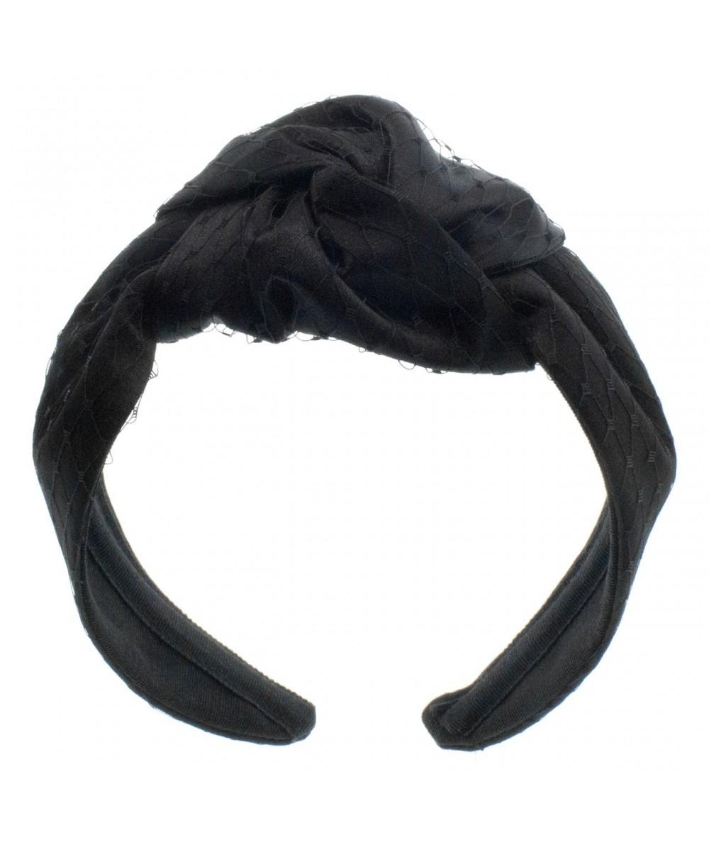 Black Satin and Black Veiling Turban Headband