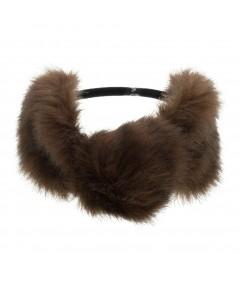 Light Brown Faux Fur Turban Elastic Headband