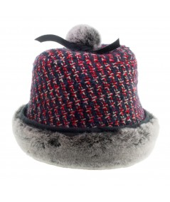 Women's Wool Cap with Faux Fur