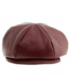 Cranberry Leather Cap