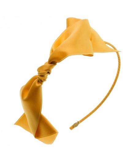 Satin Bow Headband - Yellow Gold
