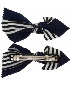 Navy Grosgrain Stripe Barrette