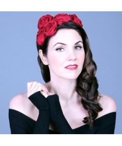 Handmade Ribbon Roses Headpiece