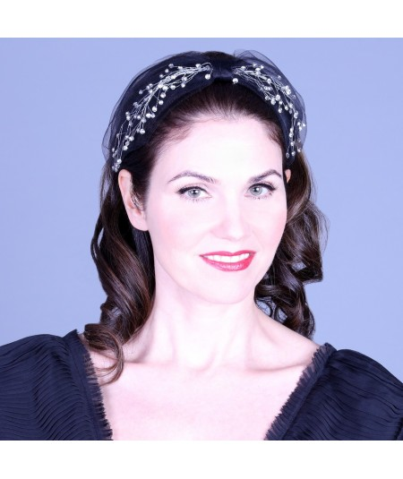 Cosmos Turban Sparkle Beaded Headband - Black with Clear