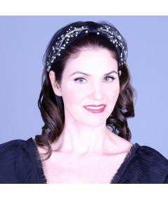 Cosmos Turban Sparkle Beaded Headband - Black with Clear