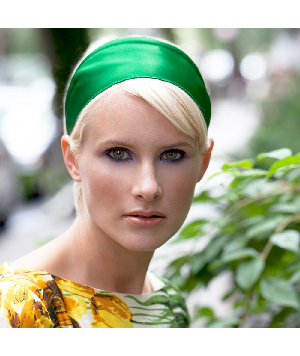 Basic Extra Wide Satin Headband - Emerald