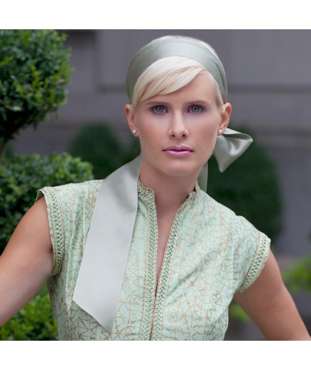 Khaki basic-extra-wide-satin-headband-with-long-ties-Katie-Holmes