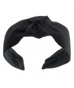 BLACK WIDE GROSGRAIN CENTER TURBAN HEADBAND