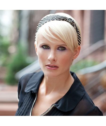 Black Natural POOLSIDE Raffia Turban with Side Knot