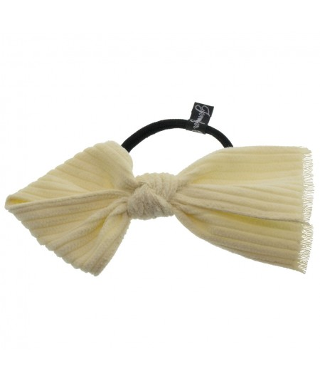 Butter Cordoroy Loop tie Ponytail Holder by Jennifer Ouellette
