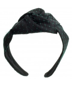 Black Satin and Kelly Green Veiling Turban Headband
