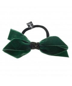 Bottle Green Velvet Bow Pony with Velvet Sparkle Accent