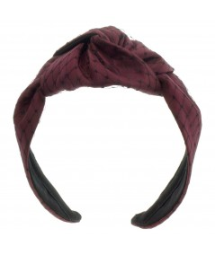 Burgundy Satin and Black Veiling Turban Headband