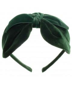 Bottle Green Velvet Center Bow Headband