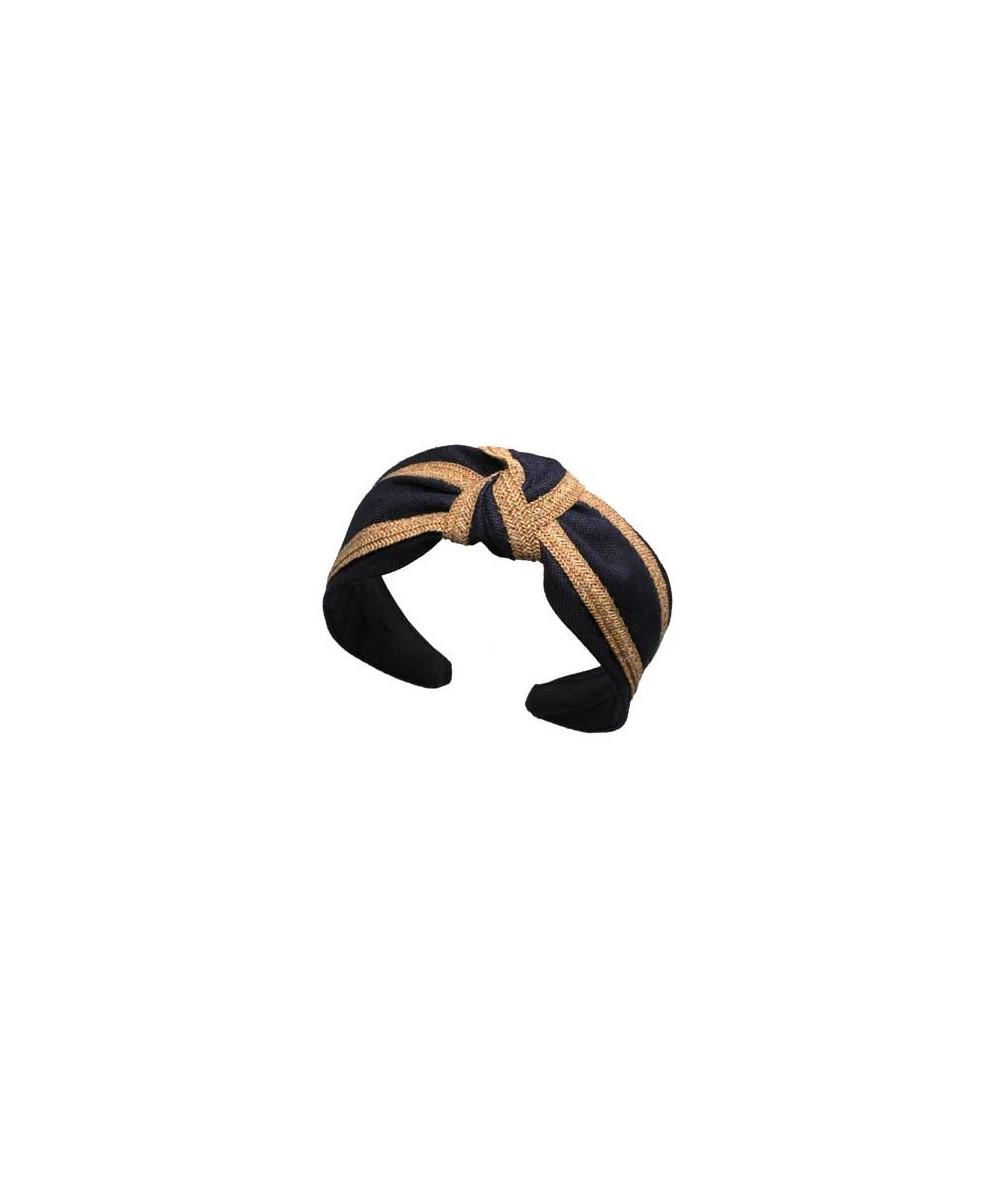 Navy Linen with Wheat Straw Turban Headband by Jennifer Ouellette