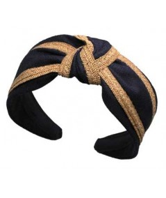 Navy Linen with Wheat Straw Turban Headband by Jennifer Ouellette