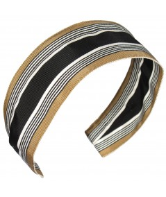 Jennifer Ouellette Retro Stripe Headband - Black Beige