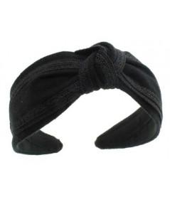 Black Linen Turban Headband by Jennifer Ouellette