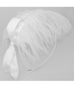 Ostrich Feather Fascinator on Skinny Satin Headband